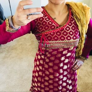 Dresses & Skirts - PARTY STYLE ! Anarkali Magenta Golden Suit